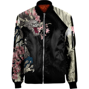 3D dragon and cherry blossoms  NYLON-BLEND BOMBER JACKET Apparel