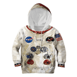 3D Armstrong Astronaut Kid Full-Print Hoodie T-shirt