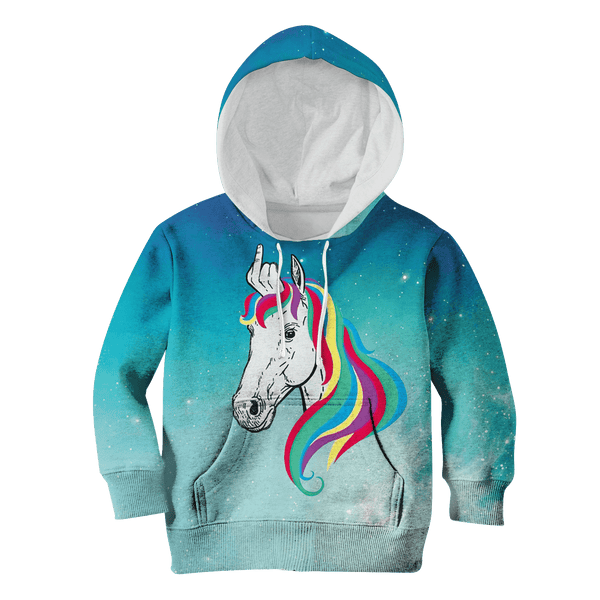 f741f8f55 3D Unicorn With Middle Finger Full-Print Hoodie T-shirt – Gearhuman