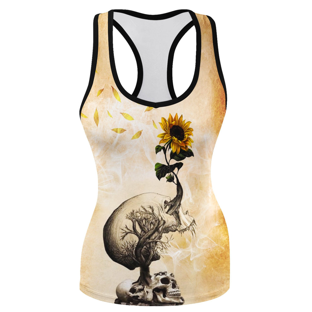 Women's Tank Top Skull And Sunflower