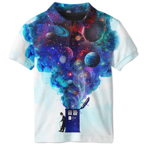Gearhuman 3D DOCTOR WHO WITH PLANETS  Custom Polo T-Shirt Apparel