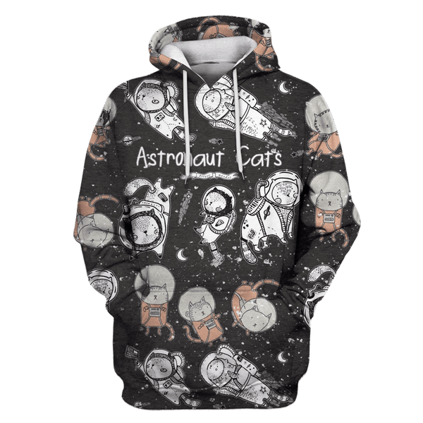 3D Astronaut Cat OuterSpace Full-Print T-shirt - Hoodie