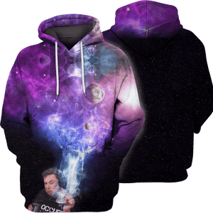 Gearhuman 3D  Elon Musk smoking out space  Hoodies - Tshirt Apparel