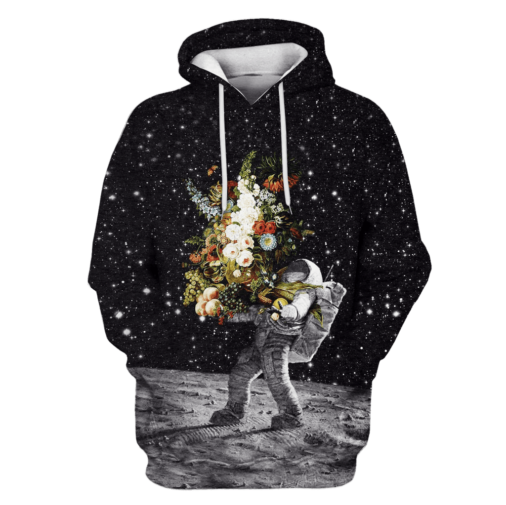 Astronaut Bringing Flowers To The Moon Custom T-shirt - Hoodies Apparel