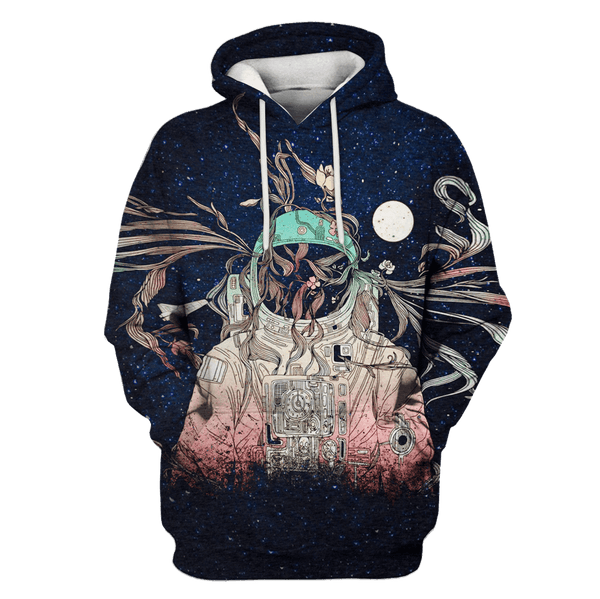 3D Astronaut in the space with moon Full-Print T-shirt - Hoodie