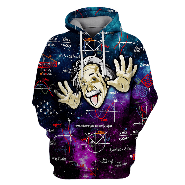3D Albert Einstein Thinking OuterSpace Full-Print T-shirt - Hoodie