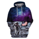 3D American Astronaut OuterSpace Full-Print T-shirt - Hoodie