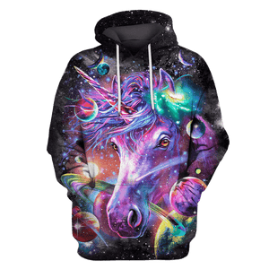 3D Unicorn and Universe Full-Print T-shirt - Hoodie Apparel