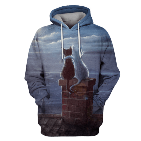 black Cat And white cat Hoodies- T-Shirts Apparel