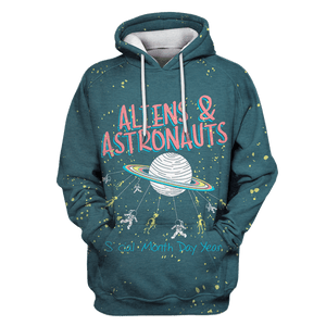 3D Aliens And Astronauts OuterSpace Full-Print T-shirt - Hoodie Apparel