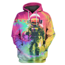 3D  Astronaut in colorful galaxy Full-Print T-shirt - Hoodie