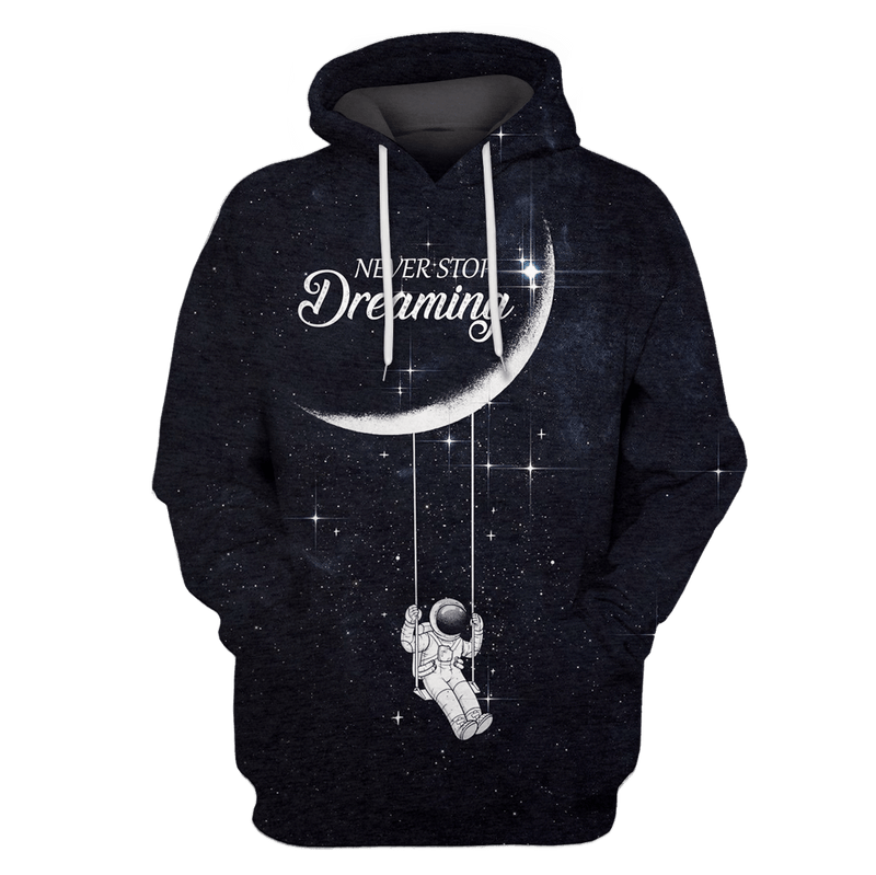 3D  Astronut Dreaming OuterSpace Full-Print T-shirt - Hoodie