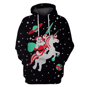 3D Santa Claus Riding Unicorn Into Space  Full-Print T-shirt - Hoodie Apparel