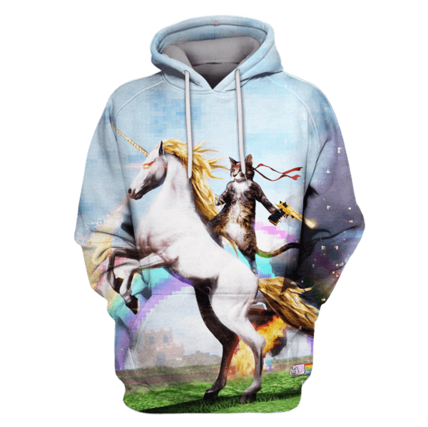 Ninja cat riding a flame-breathing unicorn T-Shirts - Zip Hoodies Apparel