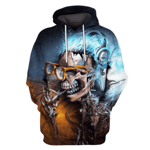 Gearhuman 3D  Halloween Skull wearing glass   Tshirt - Zip Hoodies Apparel