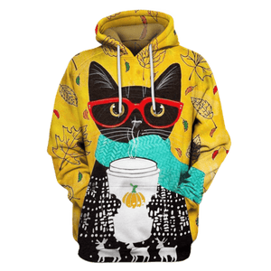 Gearhuman 3D  Black Cat Hoodies - Tshirt Apparel