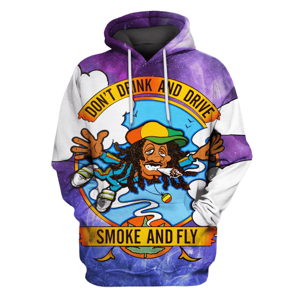 Cannabis Smoke and Fly Tshirt - Zip Hoodies Apparel