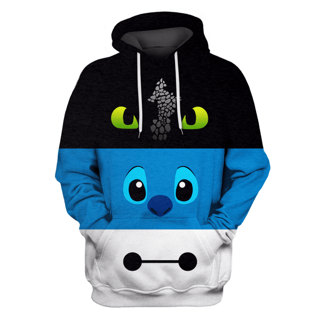 toothless Stitch and Baymax Tshirt - Zip Hoodies Apparel