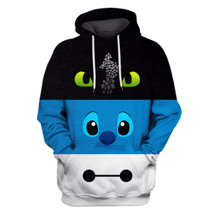Gearhuman 3D toothless Stitch and Baymax  Tshirt - Zip Hoodies Apparel