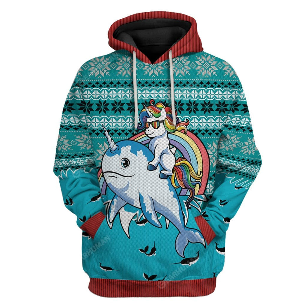 Ugly Unicorn Riding Narwhal Christmas Custom T-Shirts Hoodies Apparel