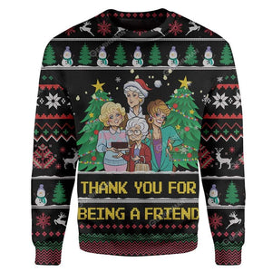 Gearhuman 3D Custom Ugly Thank You For Being A Friend Christmas Sweater Jumper