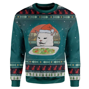 Gearhuman 3D Ugly Christmas Cat Custom Sweater Apparel