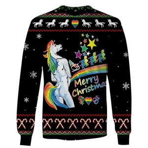 3D Ugly Unicorn Merry Christmas  Full-Print T-shirt - Hoodie Apparel