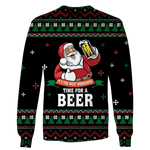 3D Santa Claus Drinking Beer Full-Print T-shirt - Hoodie
