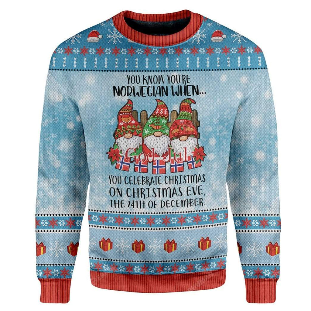 Ugly Christmas Norwegian Christmas 24th Custom Sweater Apparel