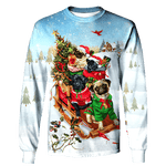 3D Pugs Bringing Christmas Presents Full-Print T-shirt - Hoodie