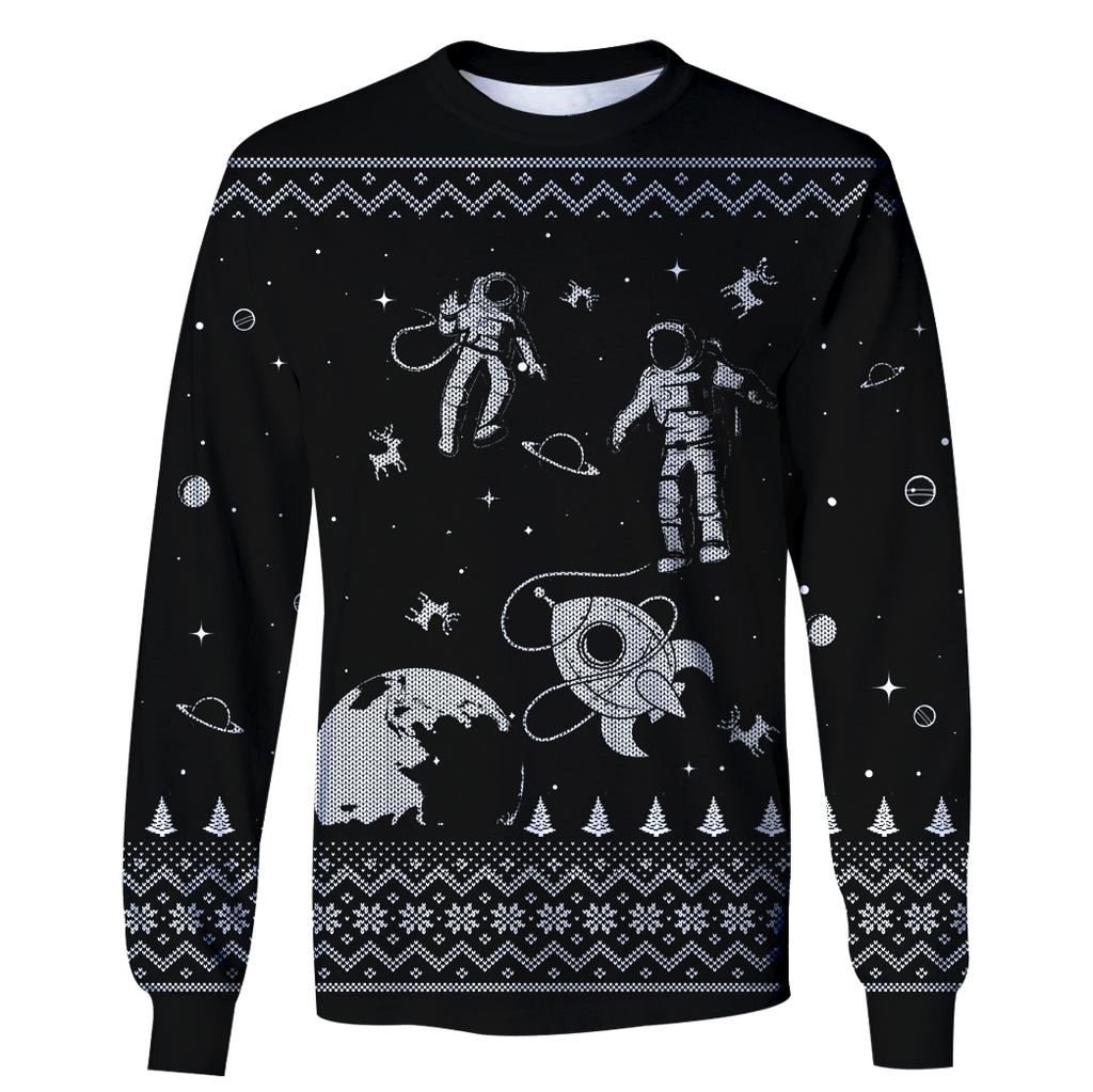 Astronauts in the space with Reindeer Custom T-shirt - Hoodies Apparel