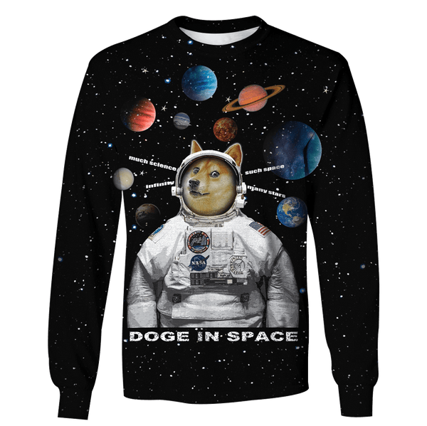 8fcda97609d6 3D Dog Astronaut In Galaxy Full-Print T-shirt - Hoodie – Gearhuman