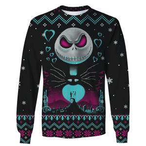 3D Nightmare Before Christmas: Night Of Love  Full-Print T-shirt - Hoodie Apparel