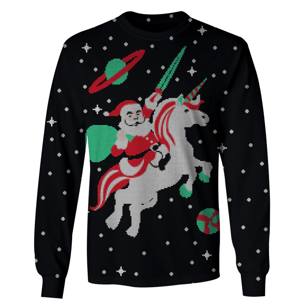 Santa Claus Riding Unicorn Into Space Custom T-shirt - Hoodies Apparel
