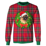 3D Pug On Christmas Full-Print T-shirt - Hoodie
