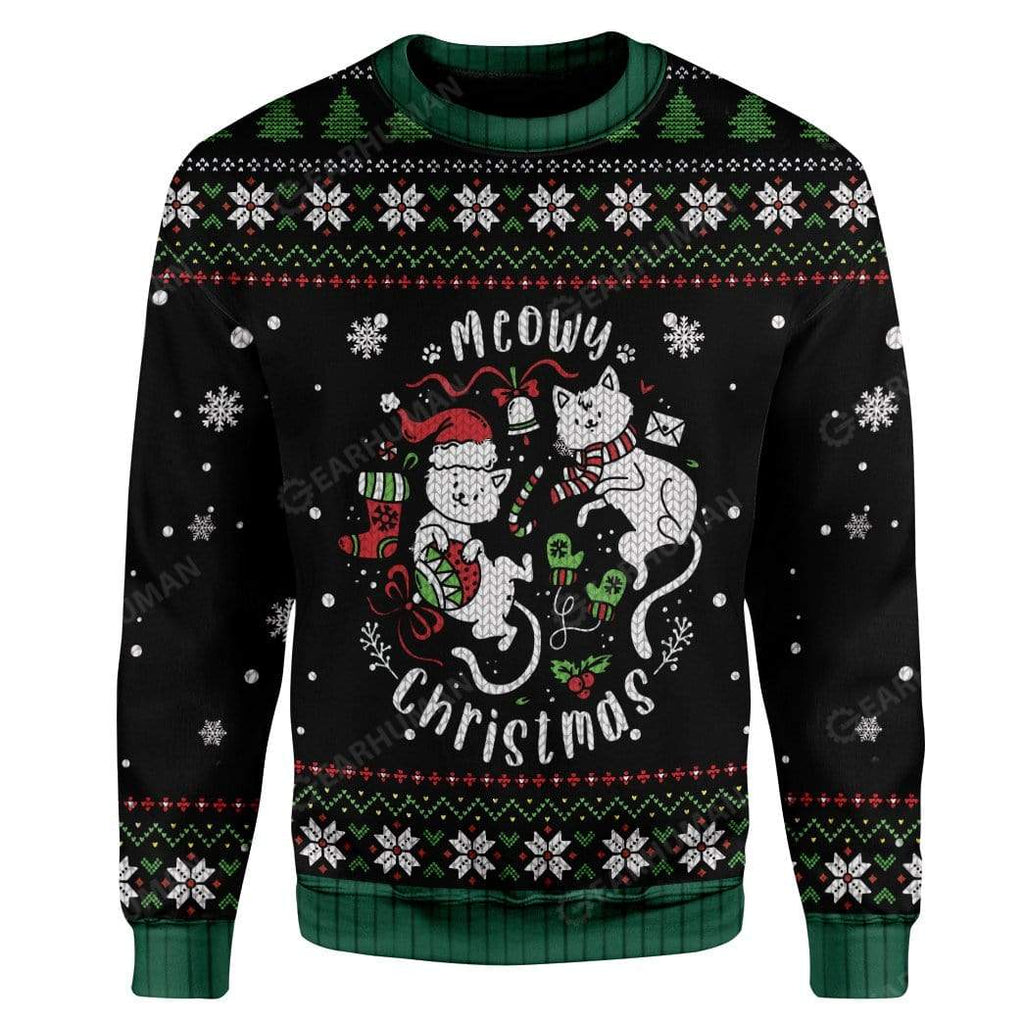Ugly Christmas Meowy Christmas Custom Sweater Apparel