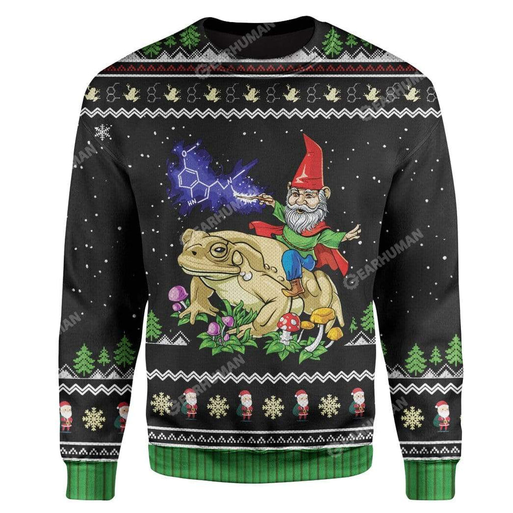 Ugly Gnome Riding Toad Christmas Custom Sweater Apparel