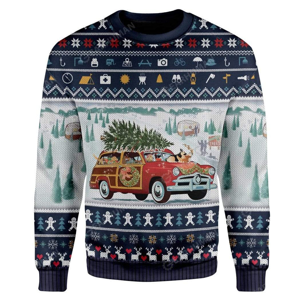 Ugly Dog Pickup Retro Camper And Wagon Christmas Custom Sweater Apparel