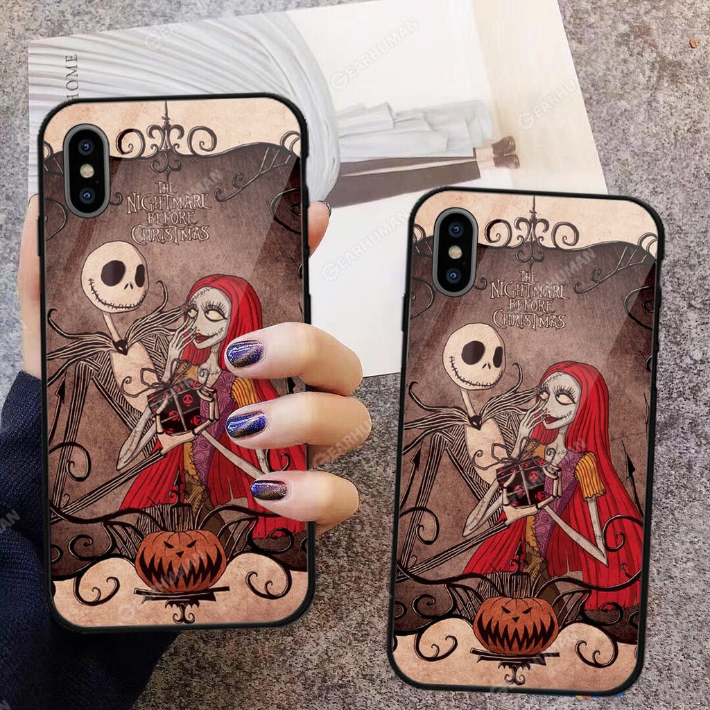Custom Glass Phone Case Cover Jack And Sally