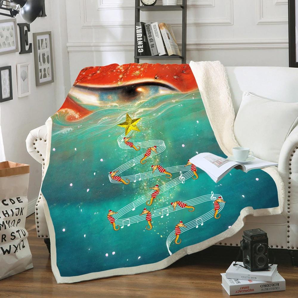 Custom Soft Blanket Seahorse Christmas In The Sea