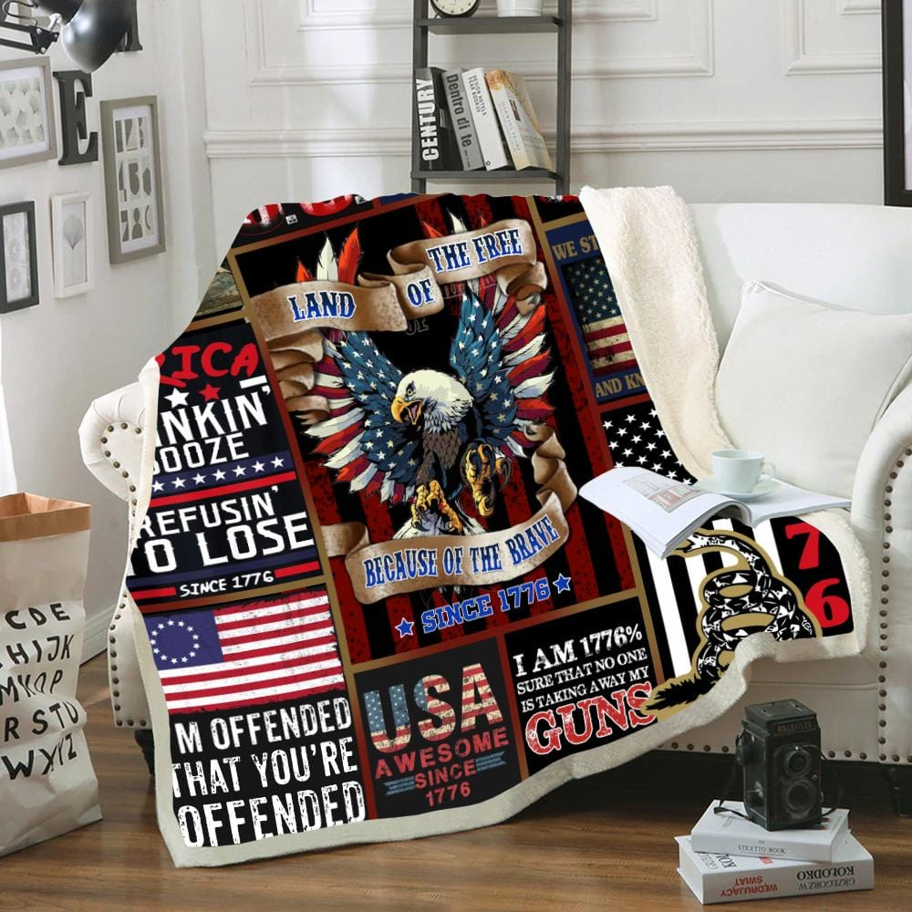Custom Soft Fleece Blanket American Patriot