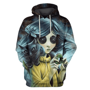Gearhuman 3D Coraline and black cat Hoodies - Tshirt Apparel