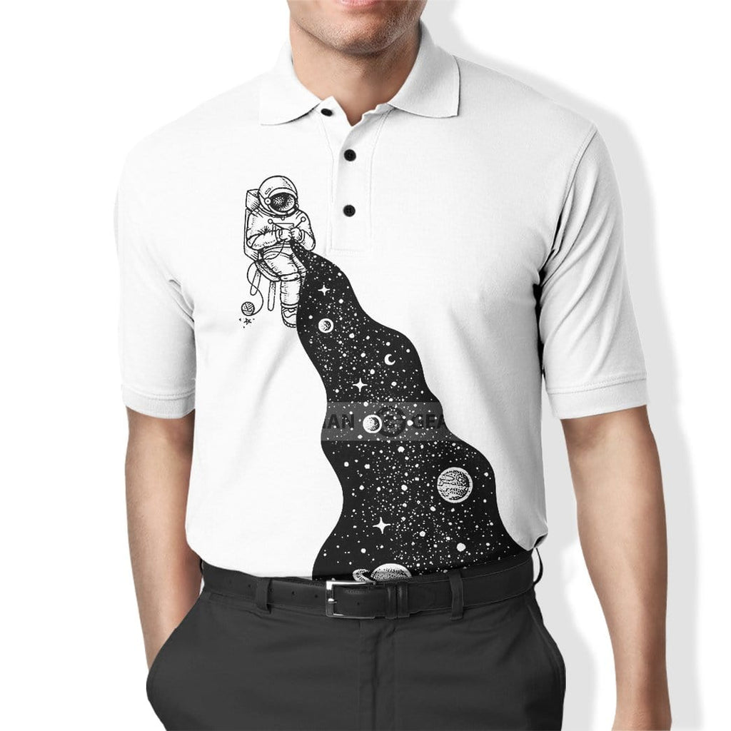 Custom Polo T-Shirt The Astronaut Knits The Universe Apparel