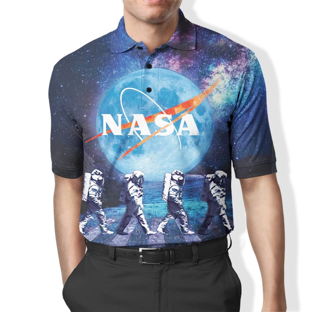 Custom Polo T-Shirt Astronauts Walking in Space