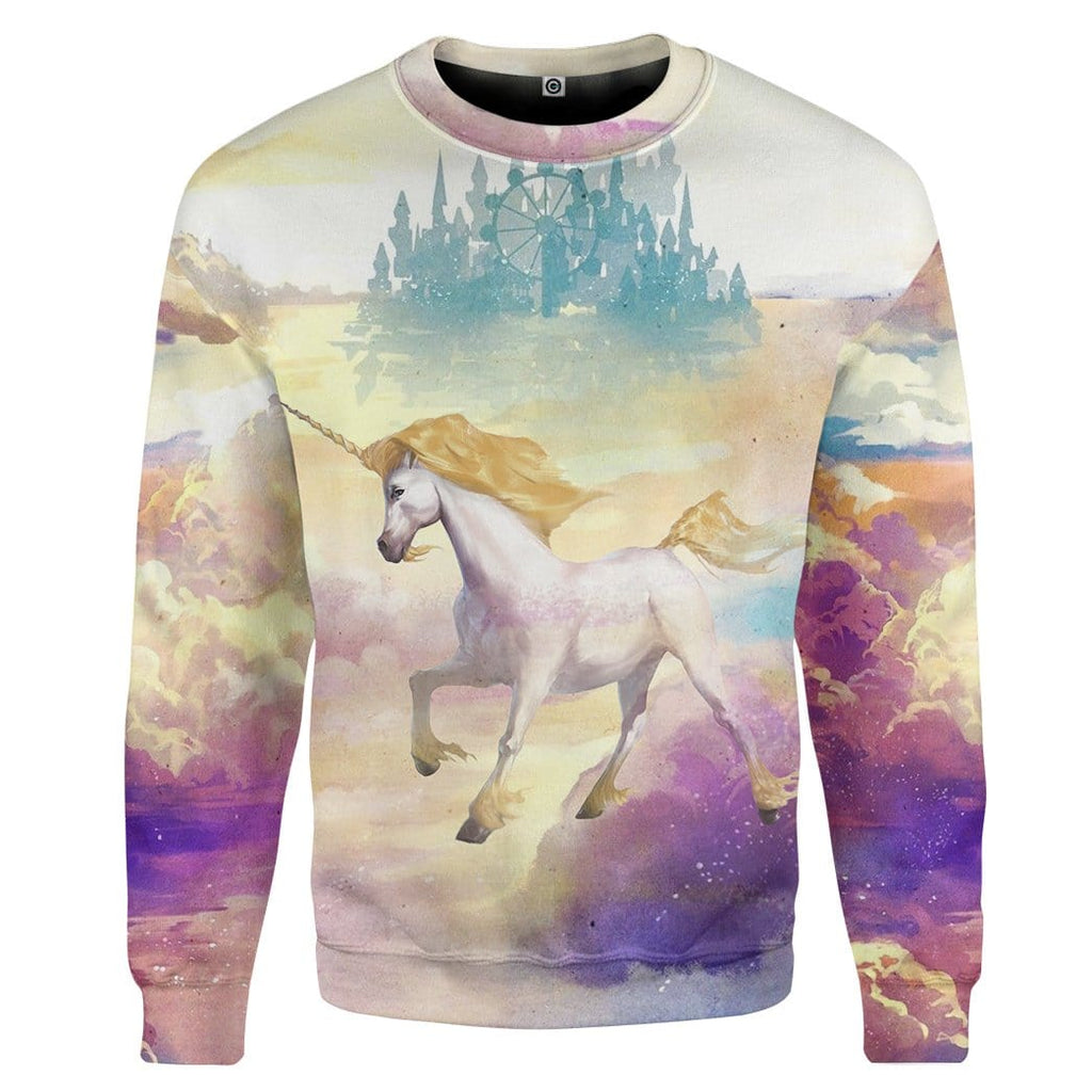 Gearhuman 3D Unicorn Was Born In Heaven Custom Sweatshirt Apparel