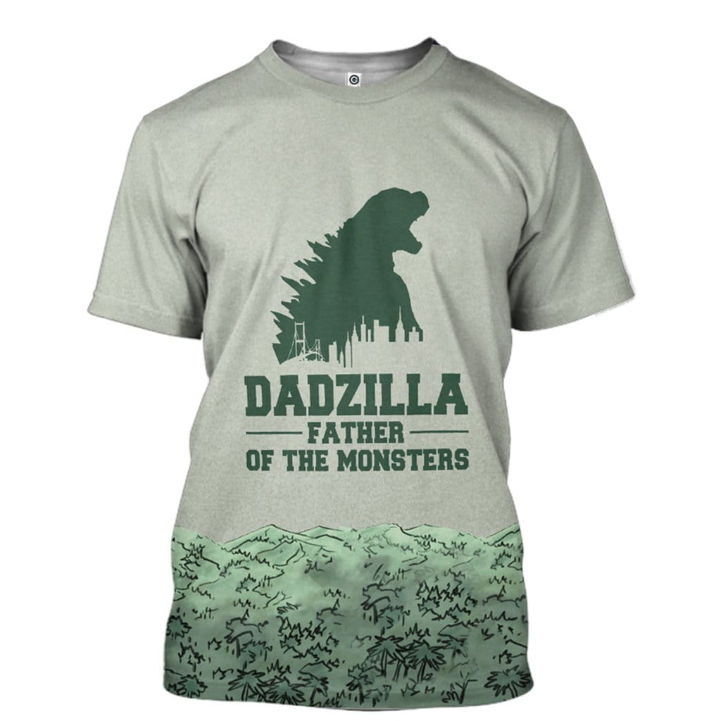 Gearhuman 3D Dadzilla And Zilla Jr Custom T-Shirts Apparel