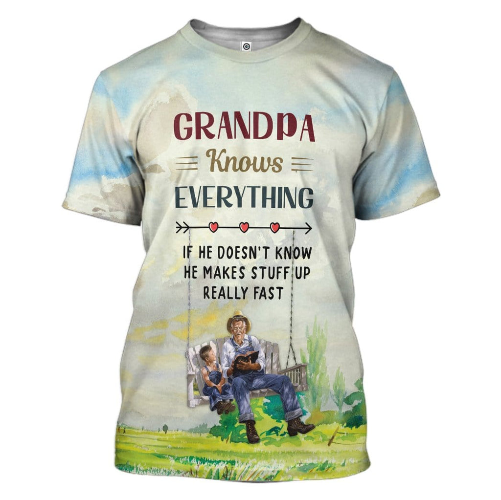 Gearhuman 3D Grandpa Knows Everything Custom T-Shirts Apparel