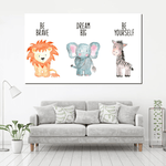 Jungle Animals Canvas For Kid Room Decor
