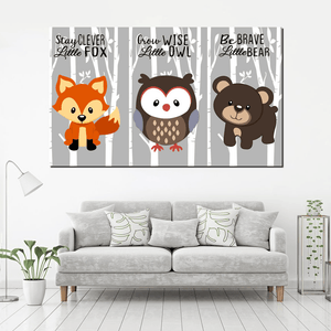 Forest Animals Canvas For Kid Room Decor