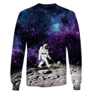 3D Astronaut is walking with his dog  Full-Print T-shirt - Hoodie
